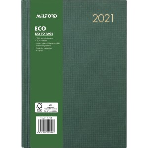 Milford 2021 Hardcover Eco Diary A5 Day To Page Green