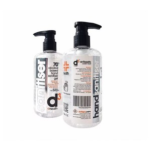 D3 Hand Sanitiser 70%+ Alcohol 250ml Bottle