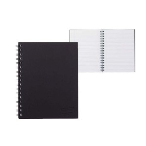 Spiral Hardcover Notebook A4 Ruled 200 Page Black