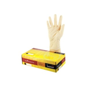Bastion Gloves Latex Powder Free Medium Box 100
